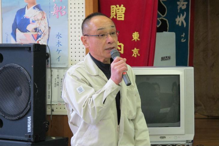 行政の取り組みについて説明する熊野市防災対策推進課の山本方秀課長