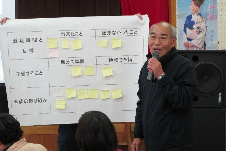 地区の住民を代表して、今後の課題を報告する二木島町自主防災会の下地通有会長