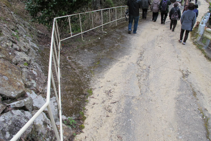 坂道の脇には手すりが設けられていた